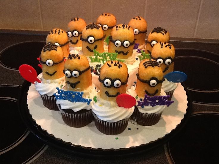 My version of the Twinkie Minion cupcakes! Made for my sweet boys 8th birthday!
