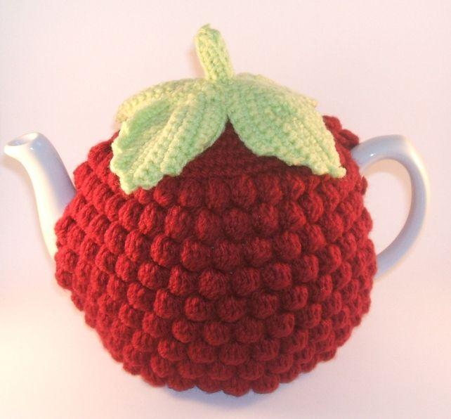 Handmade Crochet Red Raspberry Tea Cosy