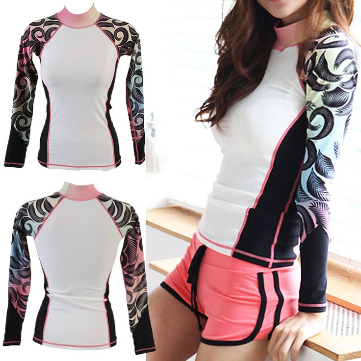 2015 BEST Womens Rash guard long sleeve Swim Shirt SPF Protection sports Top tee #ifnayo