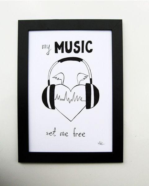 my MUSIC set me free (20x30 cm) w kot_spółka_zoo na DaWanda.com