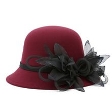Raglaido Winter Felt Fedora Hat for Woman Solid with Black Floral Lace Nobility Princess Hats Brim Ladies Church Hat LQJ01147(China (Mainland))