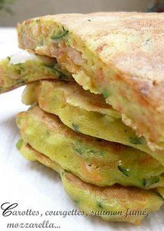 CAMELIE: Pancakes salés carottes, courgettes, saumon fumé et mozzarella