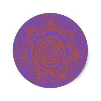 Lavender Orange Mandala Round Sticker