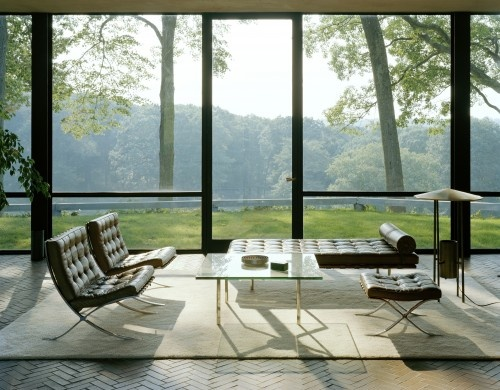 The furniture is a bit to Bauhaus for me (sorry Mies) but the wall of glass?  Yes please.