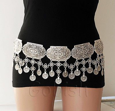 Silver plated metal belt coins big ethnic chains casablanca free people moroccan