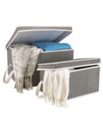 For Living 2 Pack Pinstripe Storage box.  $24.99 for 2 boxes at canadian Tire.   Small storage box dimensions 40.6 x 25.4 x 21.6 cm Large storage box dimensions 50.8 x 40 x 29.2 cm