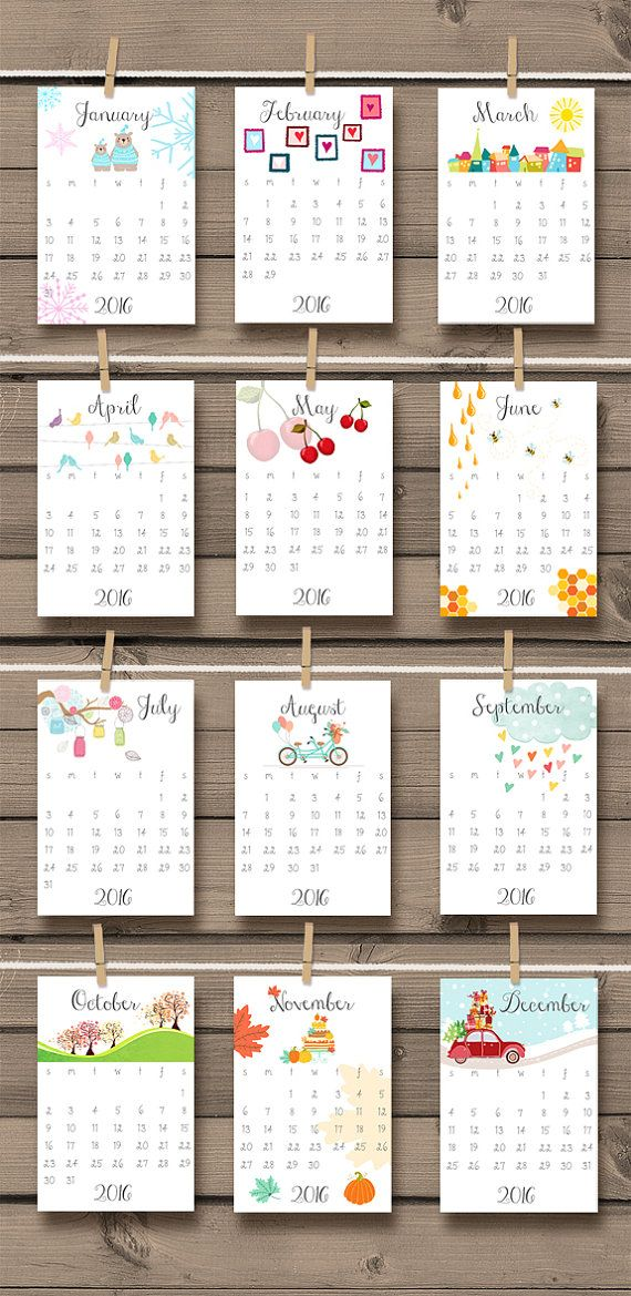 2016 calendario imprimible Doodle calendario por Anietillustration