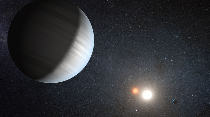 Oh, this is too cool: scientists have found a planet orbiting a binary star (a pair of stars in tight orbit around each other) that is at the right distance to have liquid water! Let me be clear: this planet is much bigger than Earth, and is likely to be a gas giant. So it's not Earth-like, and probably not itself habitable.     But it might have moons…