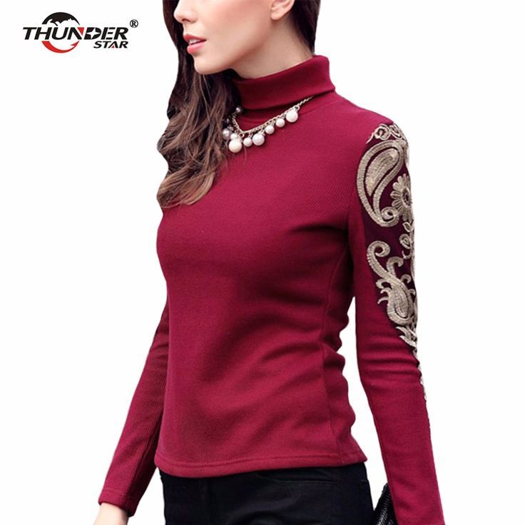 Women's Sweaters Fashion Autumn Winter Turtleneck knitted Sweater Lace Embroidery Women Sweaters Thicken Big Size Pullover