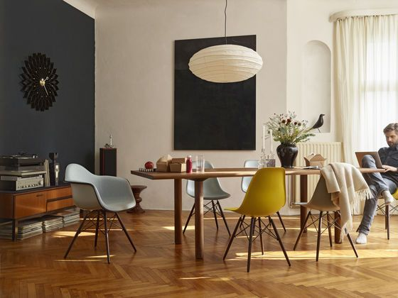 Wood Table Eames Plastic Side Chair DSW Eames Palstic Armchiar DAW Wall Clock Sunflower Akari 70N Eames Stool Eames House Bird