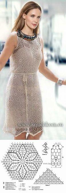 Схема вязания крючком платья из мотивов