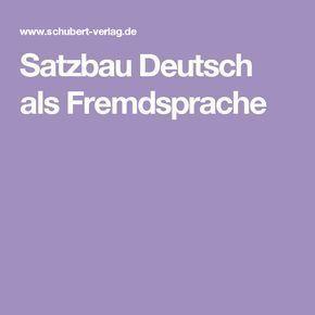 Satzbau Deutsch als Fremdsprache