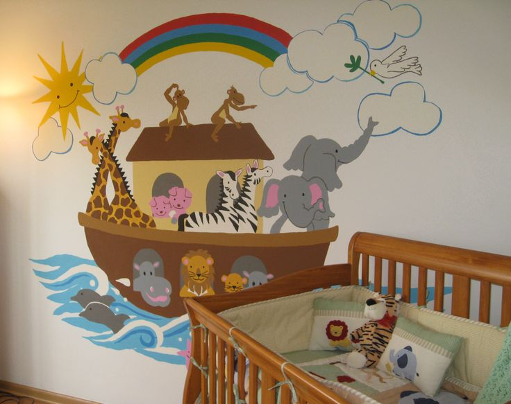 72 best images about creative baby nurseries decor on for Church nursery mural