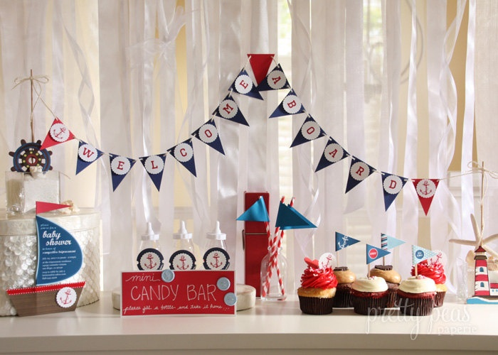 DIY Nautical Cupcake Toppers : Printable PDF. $4.00, Via Etsy. Baby Shower  NauticalBaby Boy ShowerBaby Shower FavorsShower PartyNautical ...