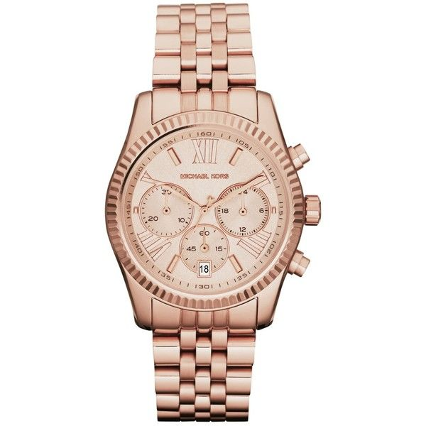 Michael Kors Women's Chronograph Lexington Rose Gold-Tone Stainless... ($188) ❤ liked on Polyvore featuring jewelry, watches, rose gold tone jewelry, stainless steel wrist watch, chronograph wrist watch, michael kors and chronos watch