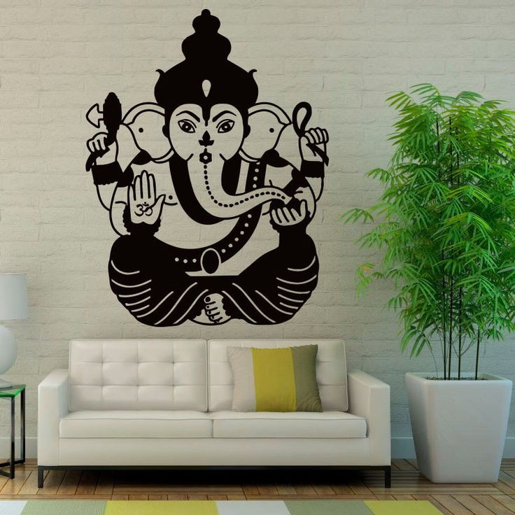 Ganesha Wall Stickers Home Decor Living Room Indian Elephant Lord Wall Decals Vinyl Art Murals $26.66