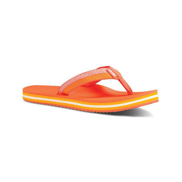 Women's Teva Deckers Flip ($32) ❤ liked on Polyvore featuring shoes, sandals, flip flops, beach shoes, coral sandals, hawaiian flip flops and black flats