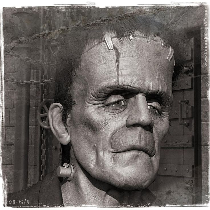 Working on a series of retro #Frankenstein's Monster images...  sculpted in #ZBrush, background modelled in #Modo