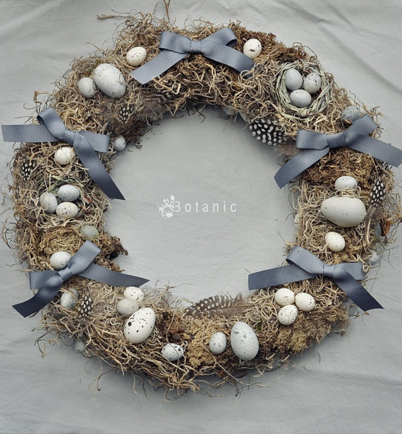 Grey Easter mossy wreath by botanicbotanic on Etsy, $30.00