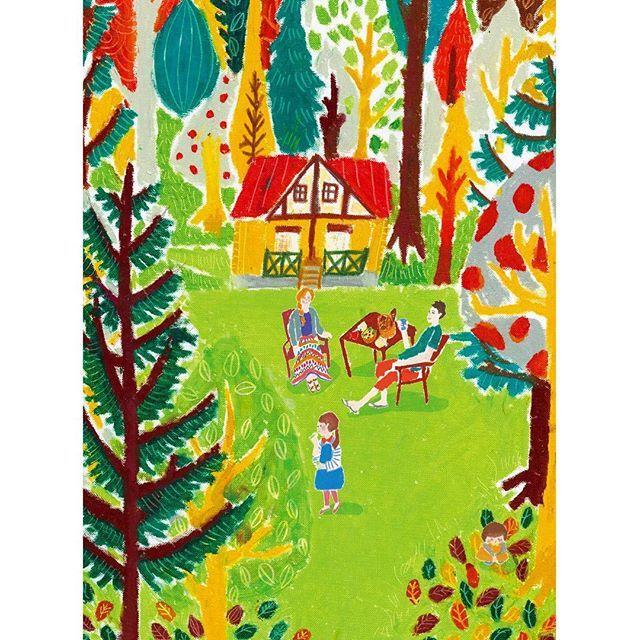 【ochocomochi】さんのInstagramをピンしています。 《森のロッジで自然と遊ぶ  #憧れ #森 #キャンプ #アウトドア #日光浴 #bbq #人生自由化 #ネクストウェークエンド #週末野心 #illustrator #illustration #design #drawing #oilpastel #オイルパステル #クレヨン #クレパス #おしゃれ #落書き #お絵描き #art #イラスト #イラストレーター #デザイン #デザイナー  #ほぼ日 #color》