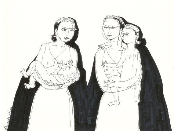 WOMEN with BABIES original ink drawing // wall art by Elisaveta Sivas // 5,9 x 7,9'