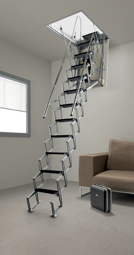 Aluminium motorised scissor attic/loft ladder. Levers and steps are made from die-cast aluminium
