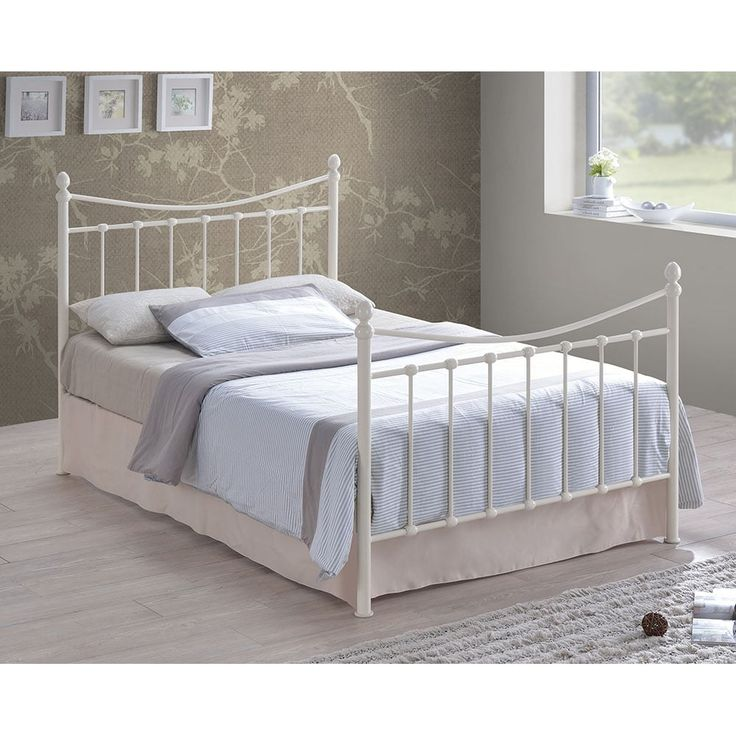 Stella Vintage Style Metal Double Bed, Cream