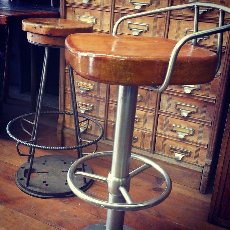 Mahogany + Aluminum Stool - From a Ship ~ #mahogany #aluminum #stool #home #decor #antique *JoJo's Place www.jojosplace.com