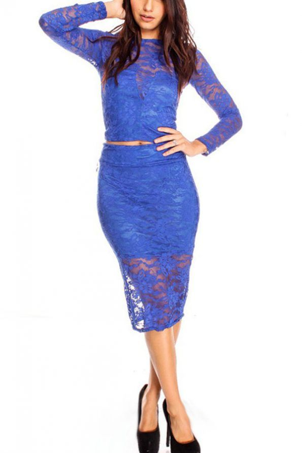 $19.99 | Blue Sheer Lace Bodycon 2pc Midi Dress | Psychedelic Monk