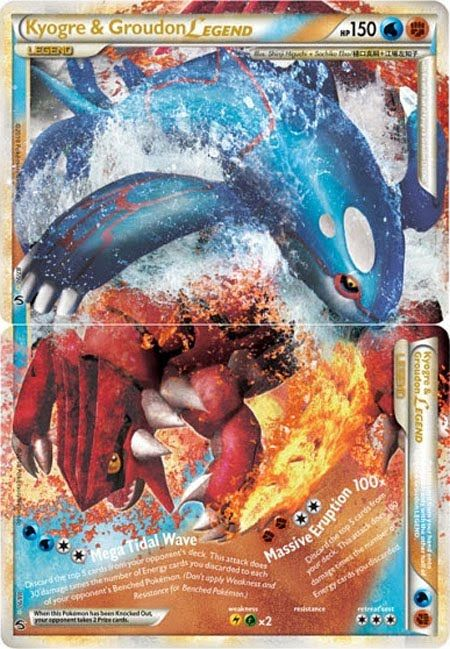 Printable Legendary Pokemon Cards | Pokemon Card of the Day: Kyogre & Groudon Legend (Undaunted)
