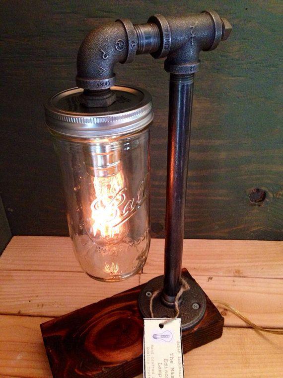 Wide Mouth Ball Mason Jar Edison lamp - bookshelf end/Table Desk lamp - Antiqued finished wood - Steam punk light New york loft industrial