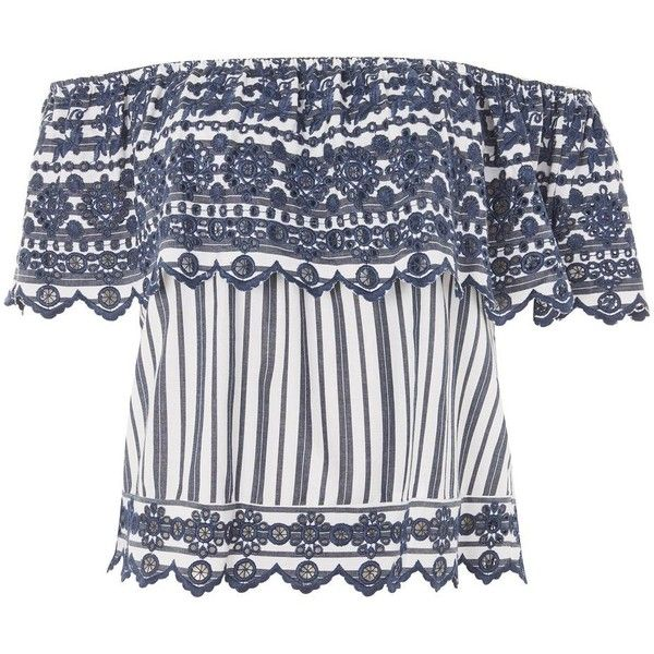 Topshop Broderie Striped Bardot Top ($38) ❤ liked on Polyvore featuring tops, navy blue, embroidered top, stripe top, navy top, striped top and navy blue top