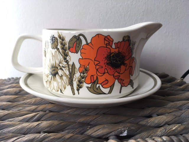 Retro J&G Meakin Poppy Design Ironstone Gravy Boat by AnEVintages1 on Etsy