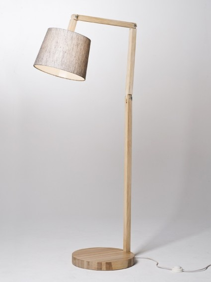 Floor Angle Lamp - American Ash and Pepper shade
