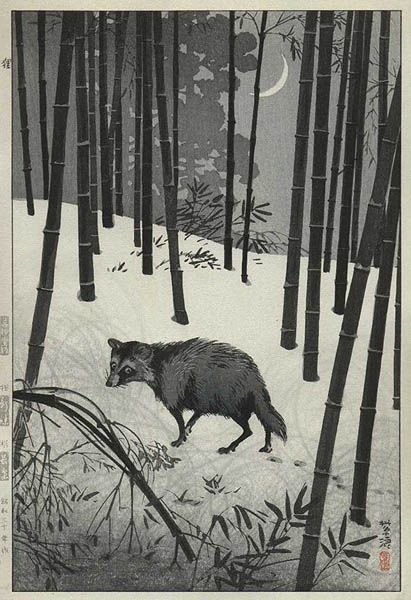 hanga gallery . . . torii gallery: Raccoon Dog by Shiro Kasamatsu: