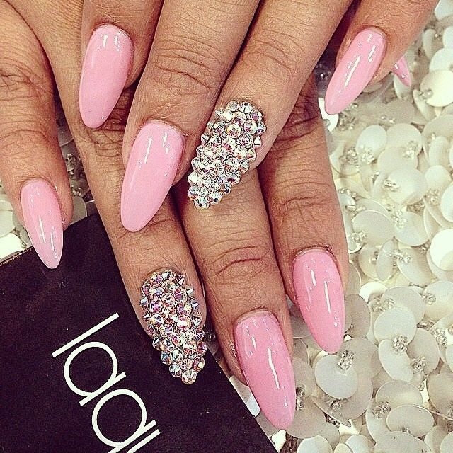 Love the soft pink - 85 Best Junk Nails Images On Pinterest Bling Nails, Hair Dos And