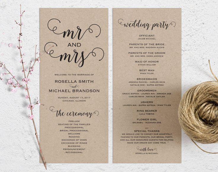 Rustic Wedding Program Template Ceremony Printable Programs Kraft