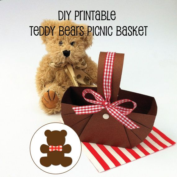 DIY PRINTABLE Teddy Bears Picnic Baskets. Teddy bears picnic. Birthday party favors or table decorations. Birthday party, baby shower.