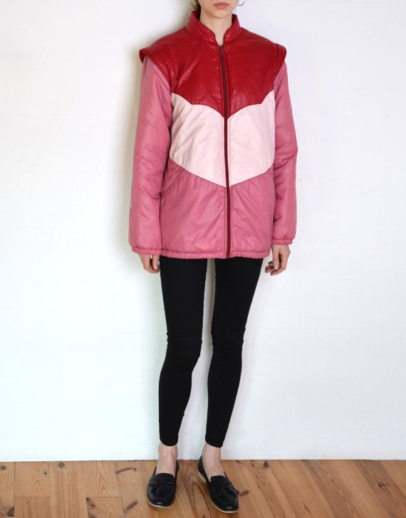 80's French ski jacket colorblock pink red by WoodhouseStudios