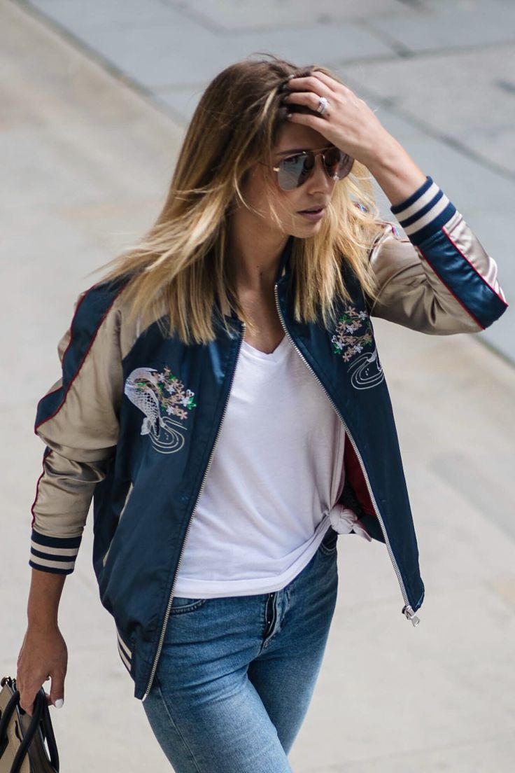 how to wear a satin bomber jacket, street style, summer outfit, casual look, weekend style                                                                                                                                                                                 More