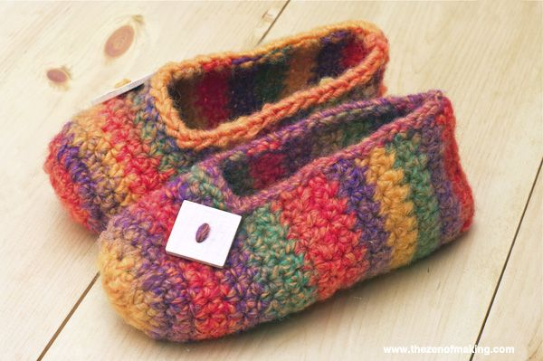 crochet | Crochet Pattern: Rainbow Striped Slippers ~:: Zen of Making ...
