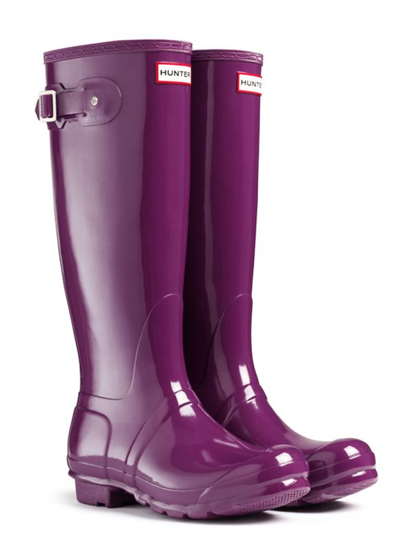 Gloss Rain Boots | Original Tall Gloss Rain Boots | Hunter Boot. Black, Violet, Sovereign Purple, or Dark Ruby.