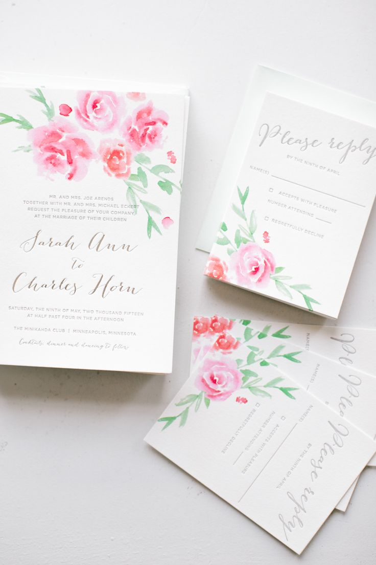 132 Best Aquarelle Wedding Invitation Images On Pinterest