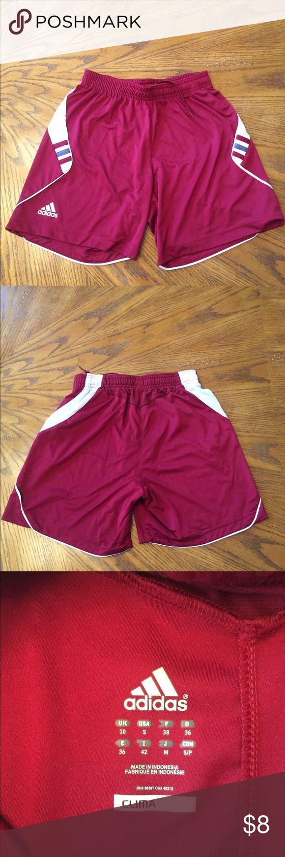 Adidas Maroon Shorts Adidas Shorts. Very soft material, longer than most women's shorts. Very comfortable! Adidas Shorts