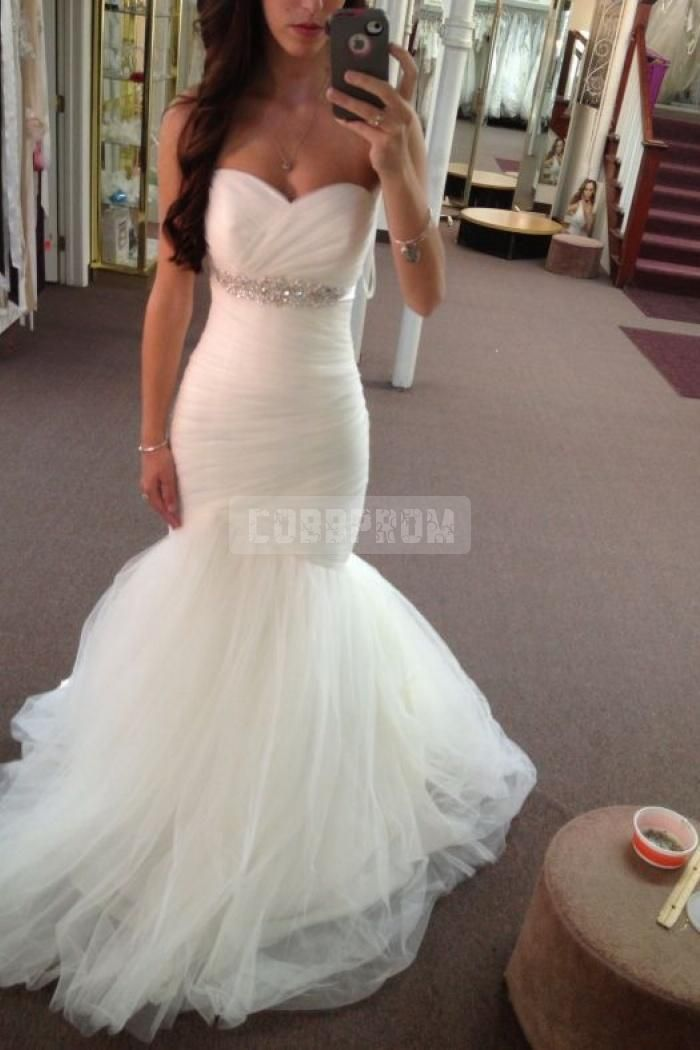 Tulle Ruching Empire Waist Mermaid Sweetheart Wedding Dress