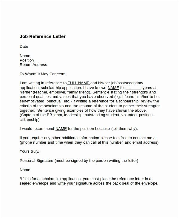 Employment Letter Of Recommendation Template New 7 Job Reference Letter Templates Free Sample Example Job Reference Reference Letter Personal Reference Letter