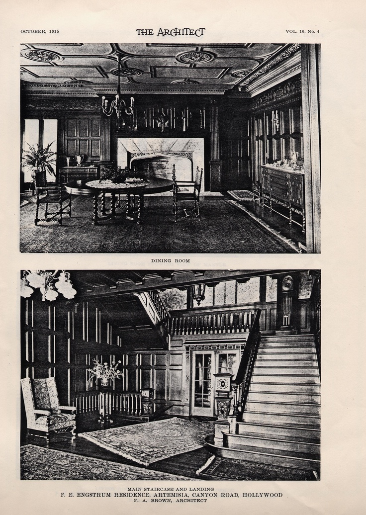 Dining room and entry hall shots from the 1915 Architect magazine article.  Looks about the same today!