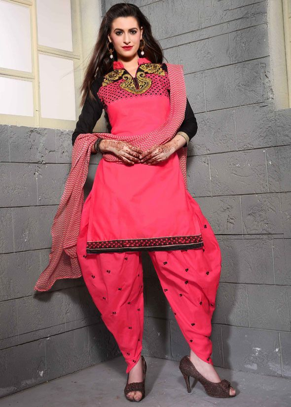 Punch Pink and Black Party Wear Patiala Dress