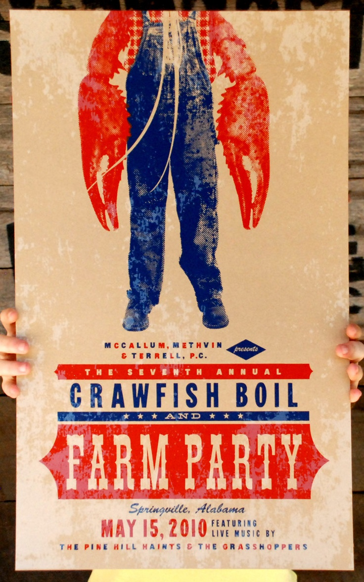 CRAWFISH BOIL Farm Party hand-pulled silkscreen printed poster. $15.00, via Etsy.... Love the design