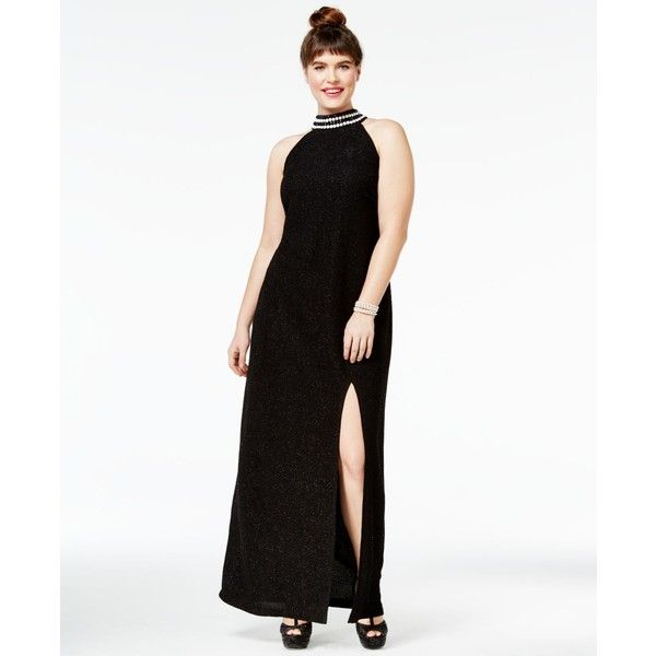 Teeze Me Juniors' Plus Size Mock-Neck Bodycon Gown ($99) ❤ liked on Polyvore featuring plus size women's fashion, plus size clothing, plus size dresses, plus size gowns, black, womens plus size night gowns, teeze me dresses, plus size evening gowns, teeze me and womens plus dresses